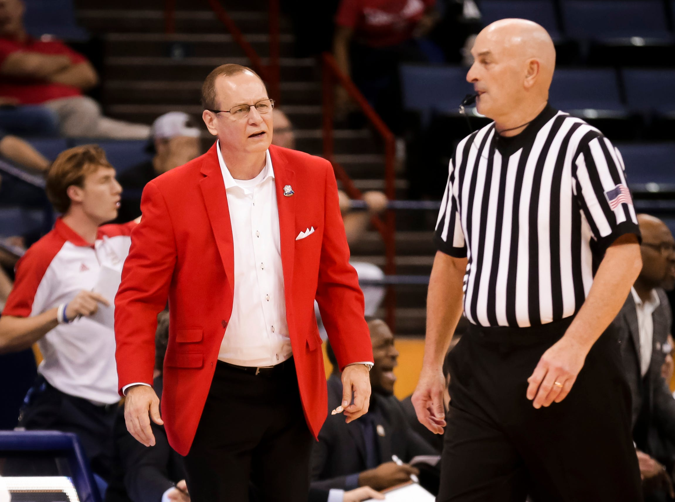 UL coach Bob Marlin reacts to an official during Thursday's game against South Alabama. The Ragin' Cajuns fell to South Alabama, 70-69, on Thursday at the Sun Belt Men's Basketball Championship in New Orleans.