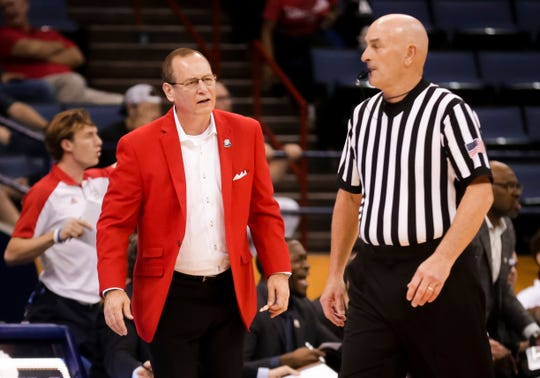 Coach Bob Marlin reacts during UL's Sun Belt Tournament loss to South Alabama earlier this year in New Orleans.