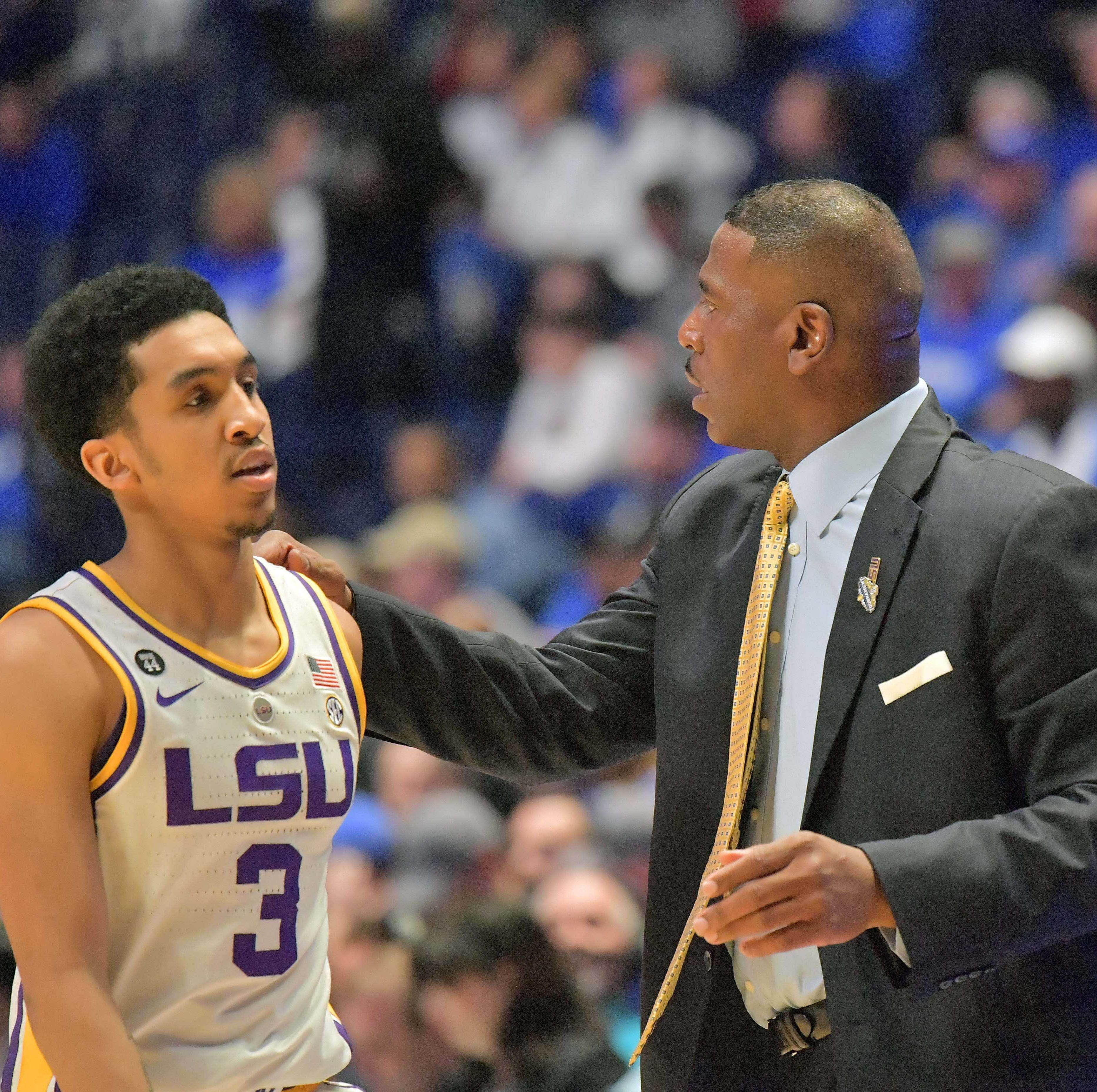 Mar 15, 2019; Nashville, TN, USA; LSU Tigers guard Tremont Waters (3) with LSU Tigers interim head coach Tony Benford during the first half of game seven in the SEC conference tournament at Bridgestone Arena. Mandatory Credit: Jim Brown-USA TODAY Sports