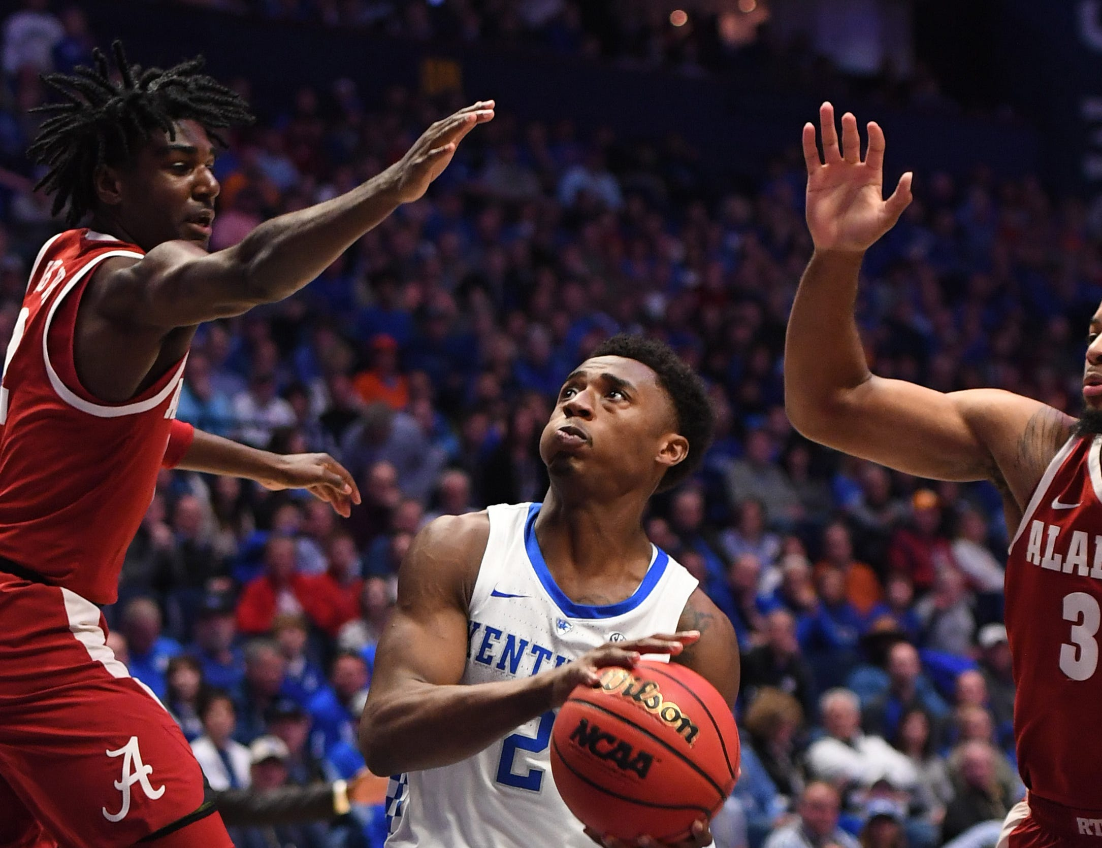 Mar 15, 2019; Nashville, TN, USA; Kentucky Wildcats guard Ashton Hagans (2) drives the lane against the Alabama Crimson Tide during the first half of the SEC conference tournament at Bridgestone Arena. Mandatory Credit: Christopher Hanewinckel-USA TODAY Sports