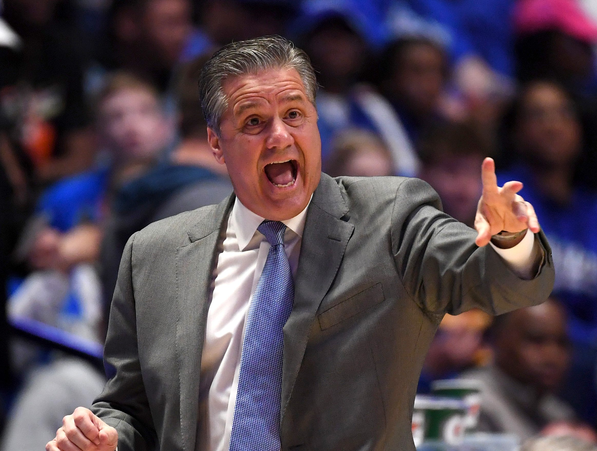 Mar 15, 2019; Nashville, TN, USA; Kentucky Wildcats head coach John Calipari reacts during the first half against the Alabama Crimson Tide in the SEC conference tournament at Bridgestone Arena. Mandatory Credit: Christopher Hanewinckel-USA TODAY Sports
