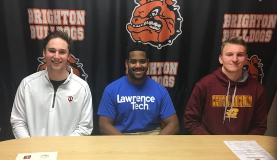 Brighton football players Will Jontz (Indiana), Colby Ford (Lawrence Tech) and Seth Steinacker (CMU) made their college choices.
