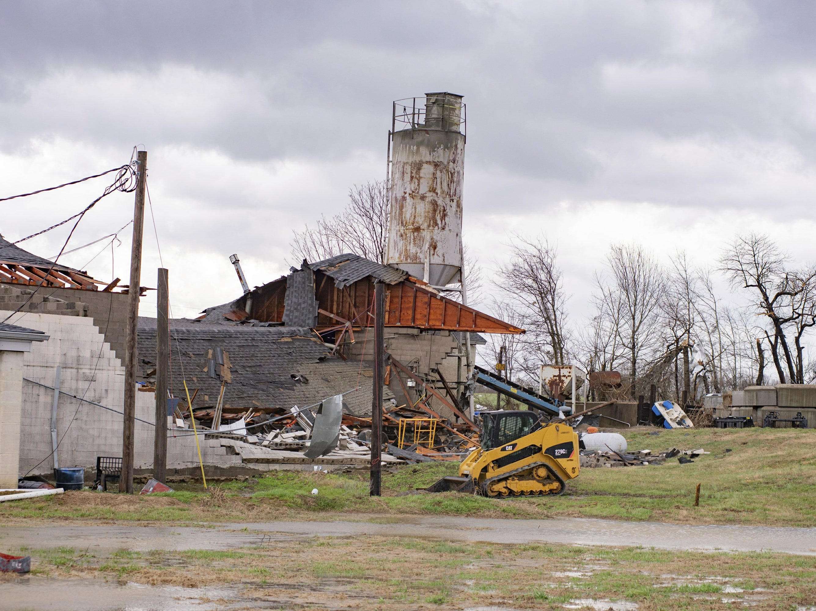 This Thursday, March 14, 2019 photo shows damage to the Wilbert Vault Co., in West Paducah, Ky. A tornado left a path in western Kentucky from Lovelaceville through the West Paducah area, according to Keith Todd, a spokesman for the Kentucky Transportation Cabinet. He said the public was being asked to avoid the area while utility crews, area fire departments, and rescue squads worked to clear utility lines, downed trees and other debris.