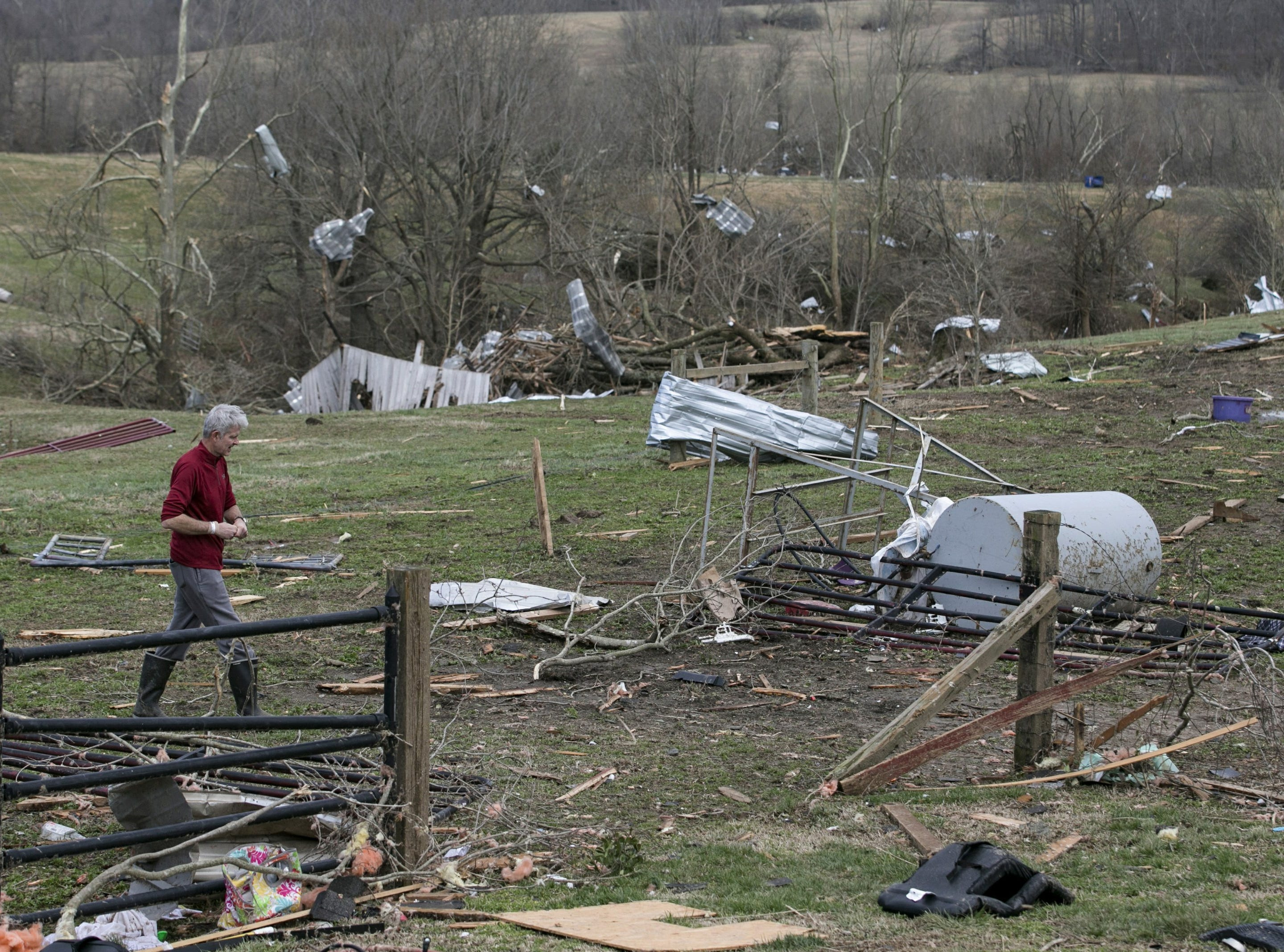 Debris litters a field after a tornado touched down in McCracken County, Ky., on Thursday, March 14, 2019.