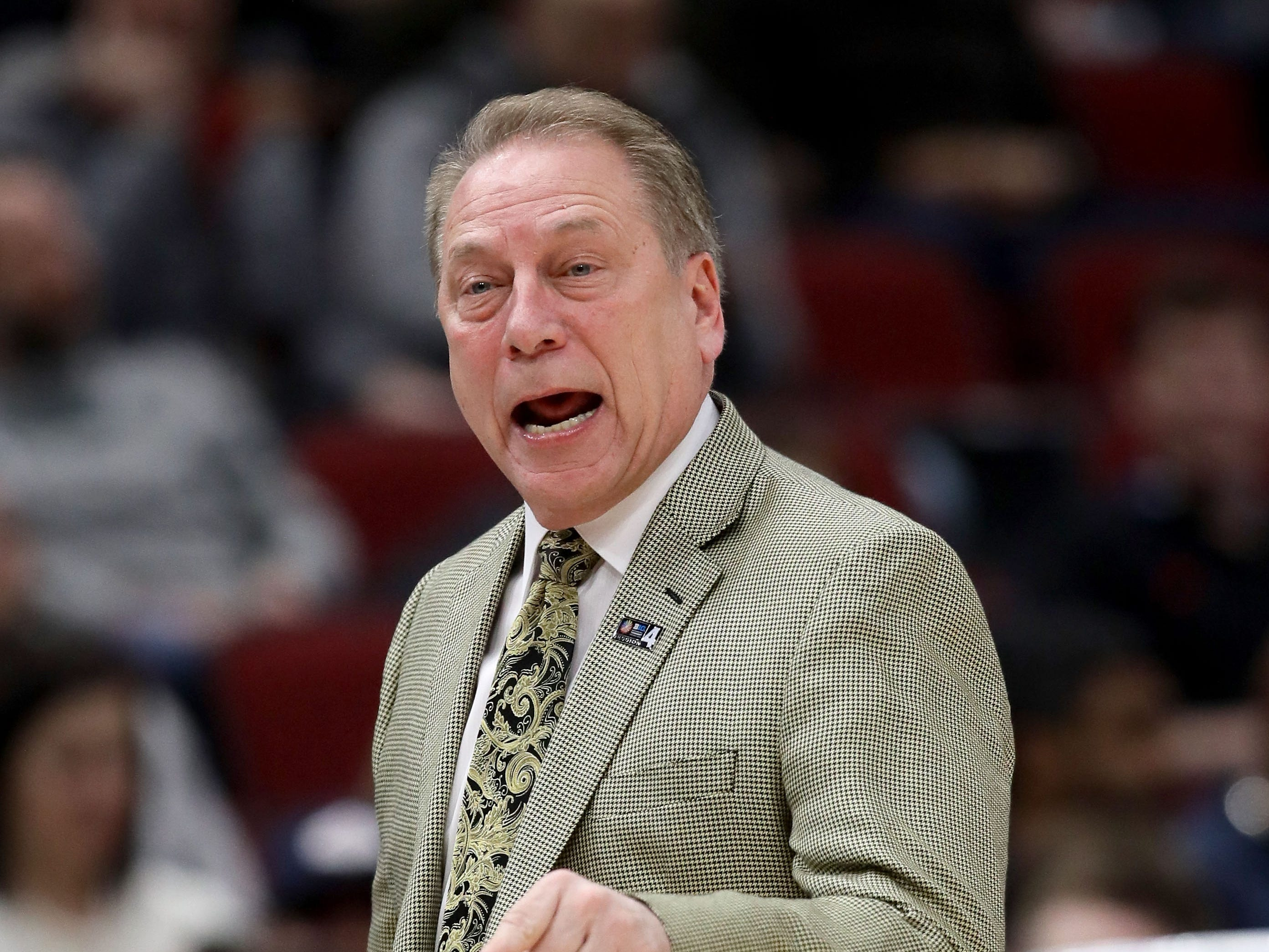 Head coach Tom Izzo of the Michigan State Spartans calls out instructions in the first half against the Ohio State Buckeyes during the quarterfinals of the Big Ten Basketball Tournament at the United Center on March 15, 2019 in Chicago, Illinois.