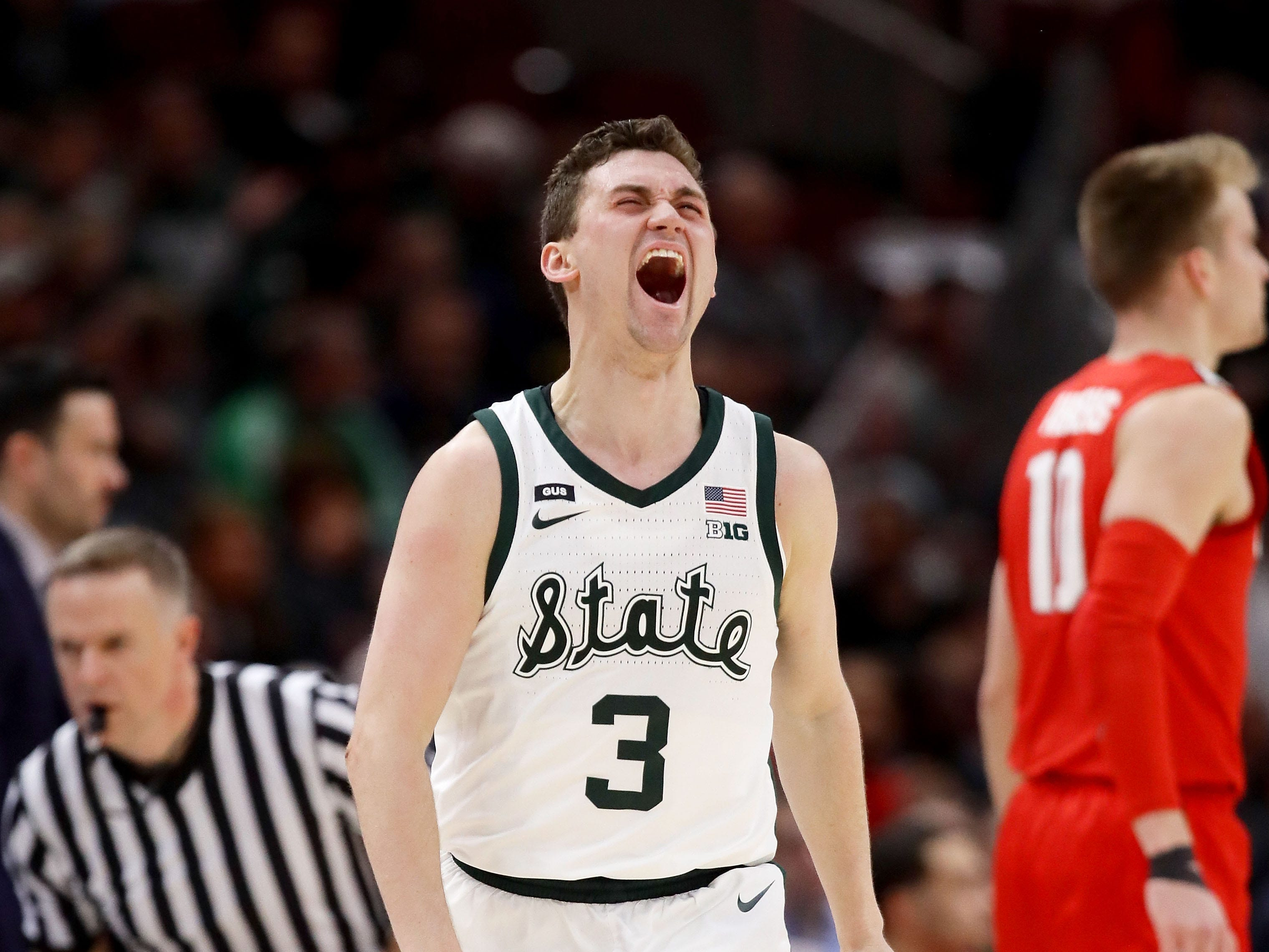 Foster Loyer of the Michigan State Spartans reacts in the first half against the Ohio State Buckeyes during the quarterfinals of the Big Ten Basketball tournament at the United Center on March 15, 2019 in Chicago.