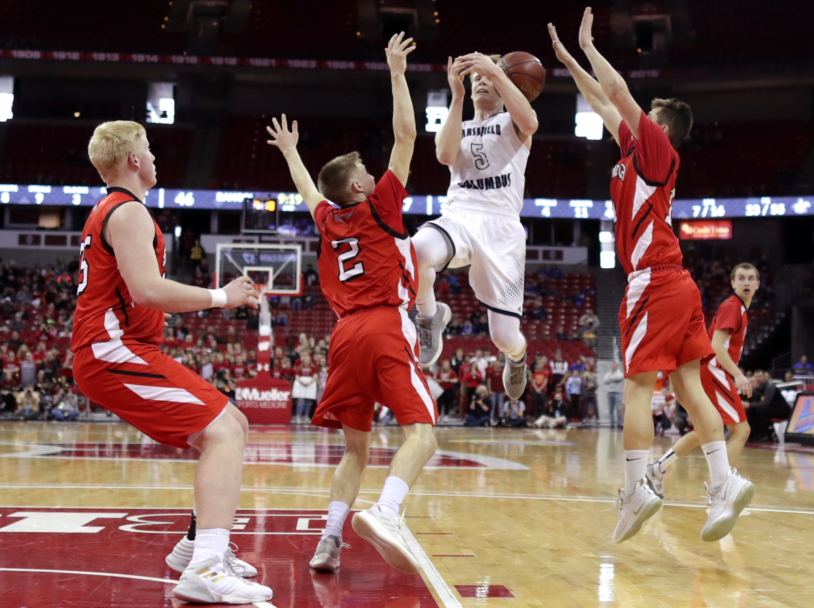 Columbus Catholic High School's #5 Noah Taylor against Bangor High School during their WIAA Division 5 boys basketball state semifinal on Friday, March 15, 2019, at the Kohl Center in Madison, Wis. Clumbus defeated Bangor 69 to 66. Wm. Glasheen/USA TODAY NETWORK-Wisconsin.