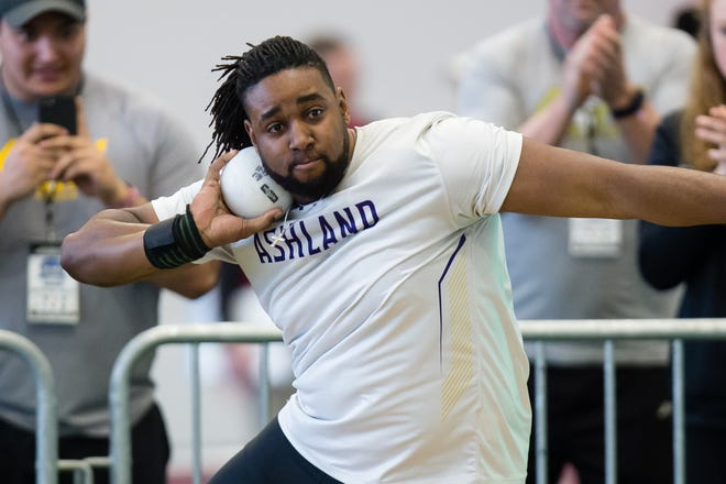 Madison grad Alex Hill finished fourth in the weight throw at the NCAA Division II Indoor Track and Field Championships to help the Ashland University men win their first national title. For Hill, it was the fifth time he's earned All-America honors.