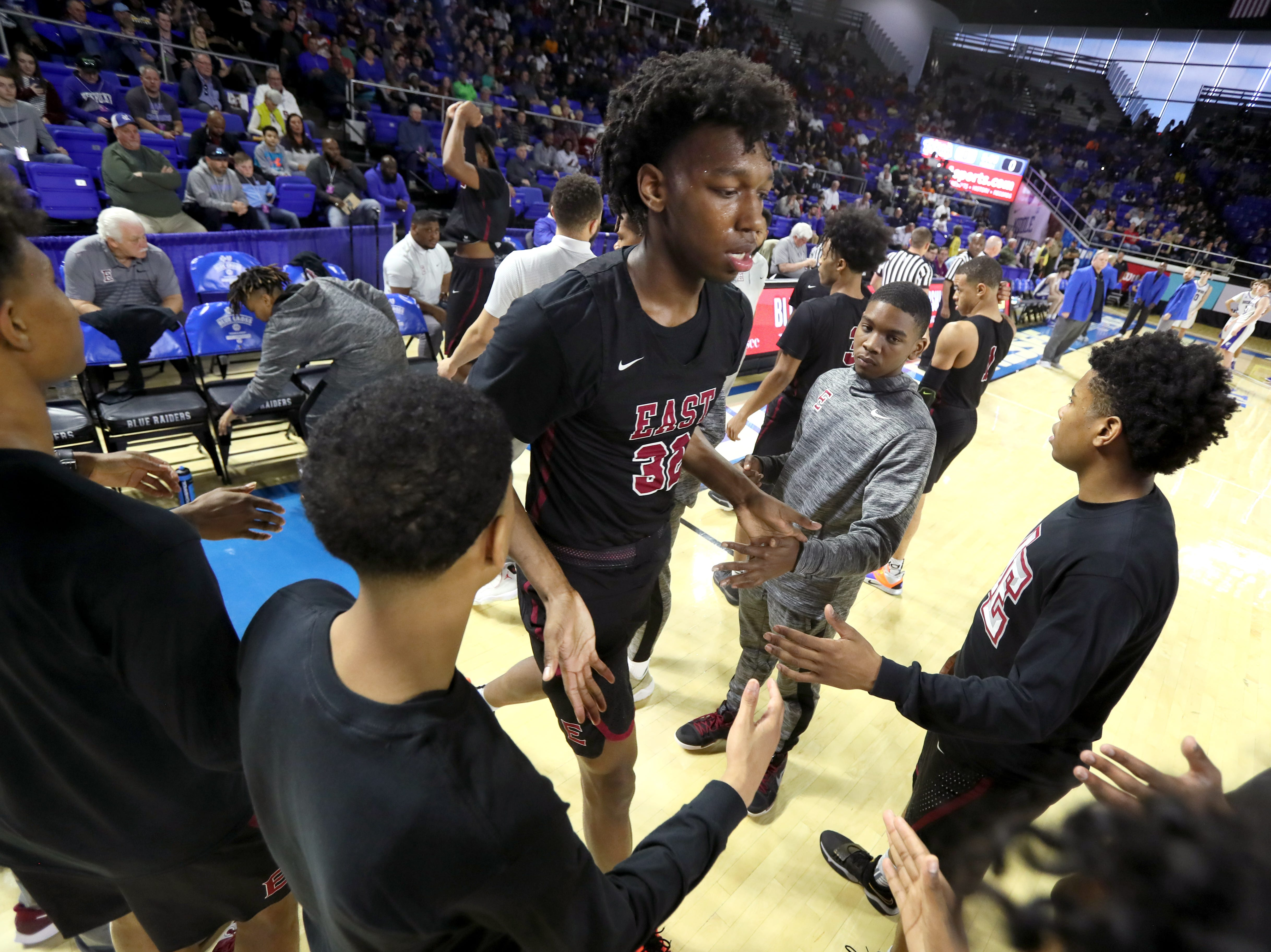 Memphis East's James Wiseman is introduced before their game against Brentwood during the Class AAA boys basketball state semifinal at the Murphy Center in Murfreesboro, Tenn. on Thursday, March 14, 2019.