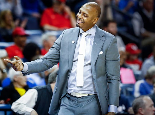 Memphis head coach Penny Hardaway during action against UCF in their quarterfinal round AAC Tournament game at the FedExForum, Friday, March 15, 2019.
