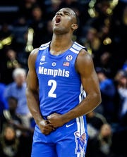 Memphis guard Alex Lomax celebrates during a 79-55 victory over UCF in their quarterfinal round AAC Tournament game at the  FedExForum, Friday, March 15, 2019.