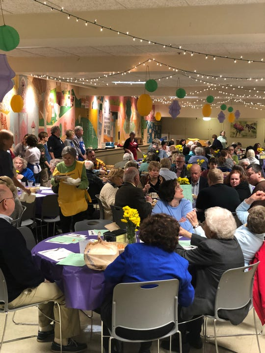 A full dining room for lunch at Calvary Episcopal Church's annual Lenten Waffle Shop.