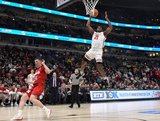 Badgers swingman Khalil Iverson elevates near the rim. Iverson scored 14 points in Wisconsin's victory over Nebraska on Friday afternoon.