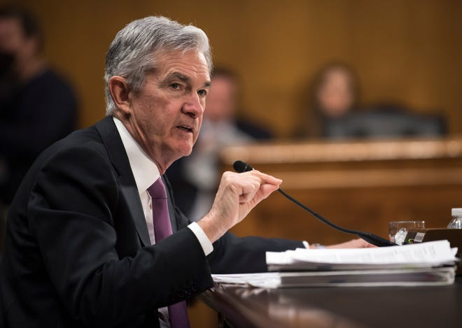 Federal Reserve Chairman Jerome Powell testifies before the Senate Banking, Housing and Urban Affairs Committee on Feb. 26 in Washington.