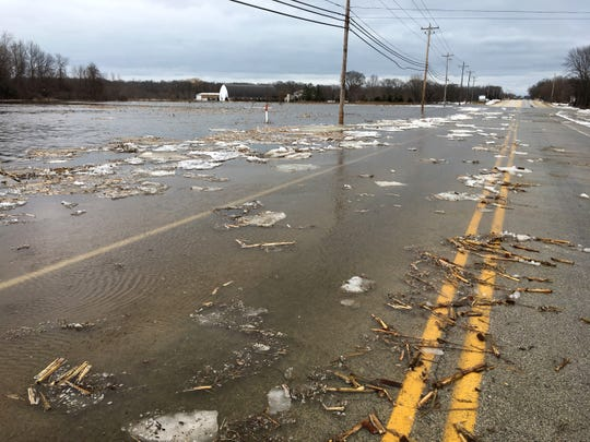 An ice jam on the Milwaukee River caused flooding on Highway C east of Cedarburg in Ozaukee County.
