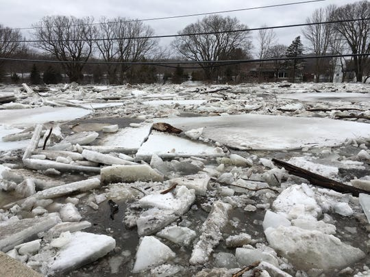 An ice jam on the Milwaukee River looking north from the Highway C bridge east of Cedarburg in Ozaukee County.