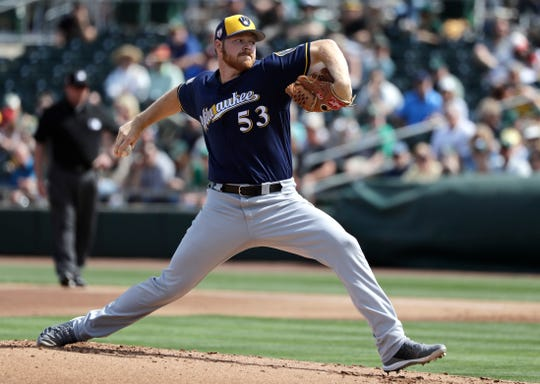 Brandon Woodruff made another strong pitch to make the Brewers' starting rotation with five shutout innings against the Padres on Friday in which he allowed just two hits while striking out seven.