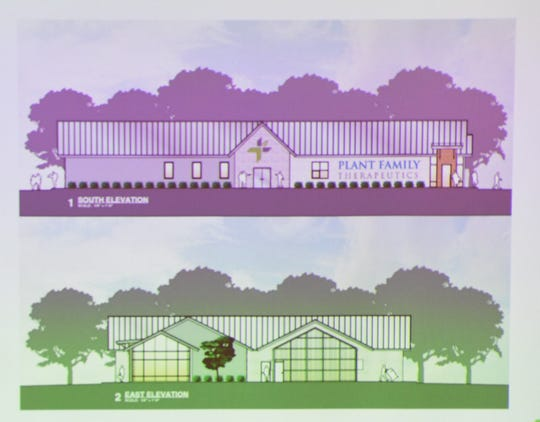 This slide shows what the planned Plant Family Therapeutics dispensary will look like once it is constructed at 5172 Highway 62 E.