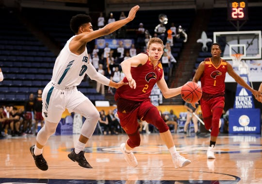 Guard Michael Ertel (2) scored a game-high 20 points with seven assists and six rebounds. ULM was 28-of-56 (.500) from the field — 15-of-24 (.625) in the second half — 14-of-31 (.452) from 3 and 10-of-11 (.909) at the free-throw line.