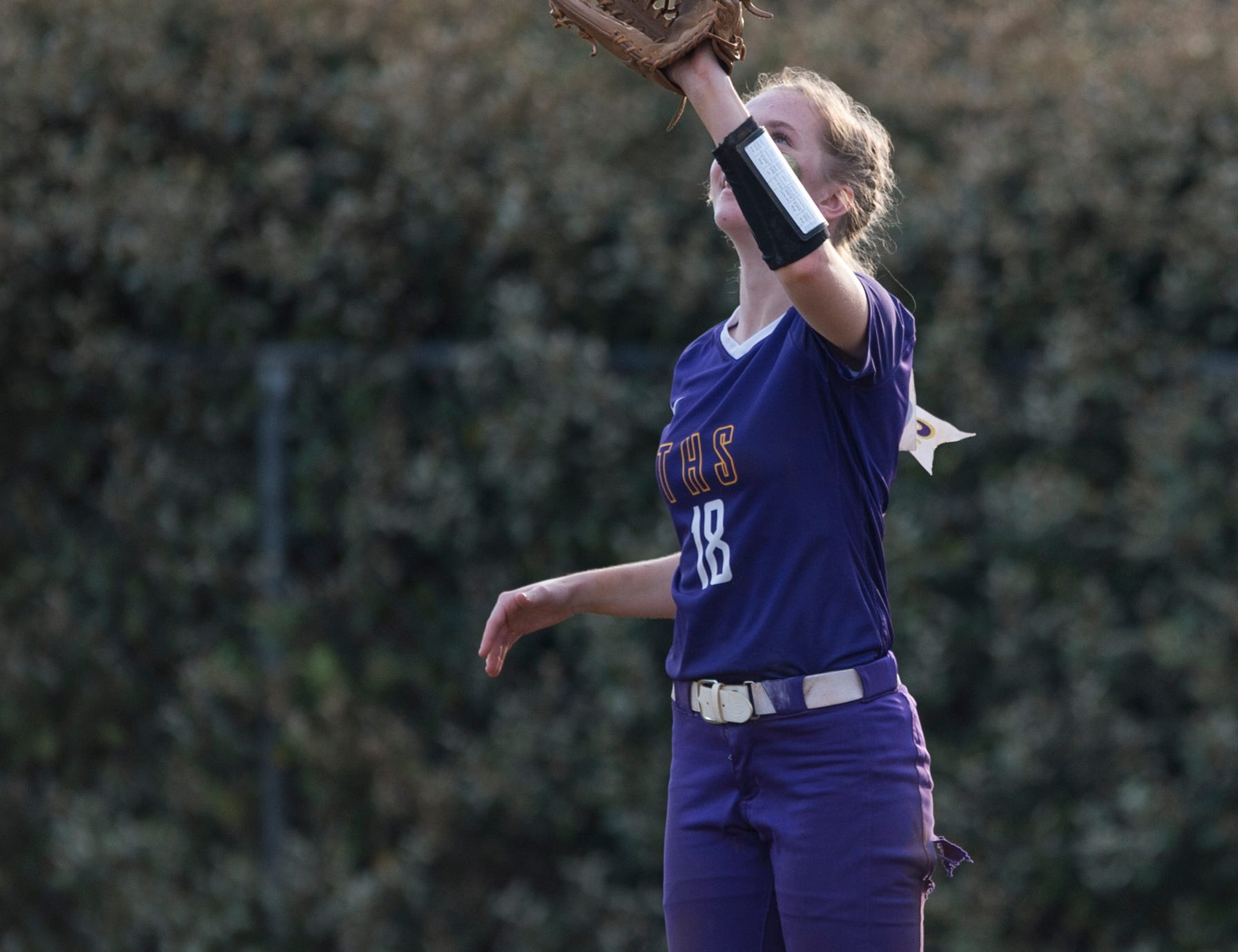 Tallassee's Chloe Baynes (18) catches a pop fly in the outfield at Thompson Park in Montgomery, Ala., on Thursday, March 14, 2019. Tallassee defeated Brew Tech 7-0.
