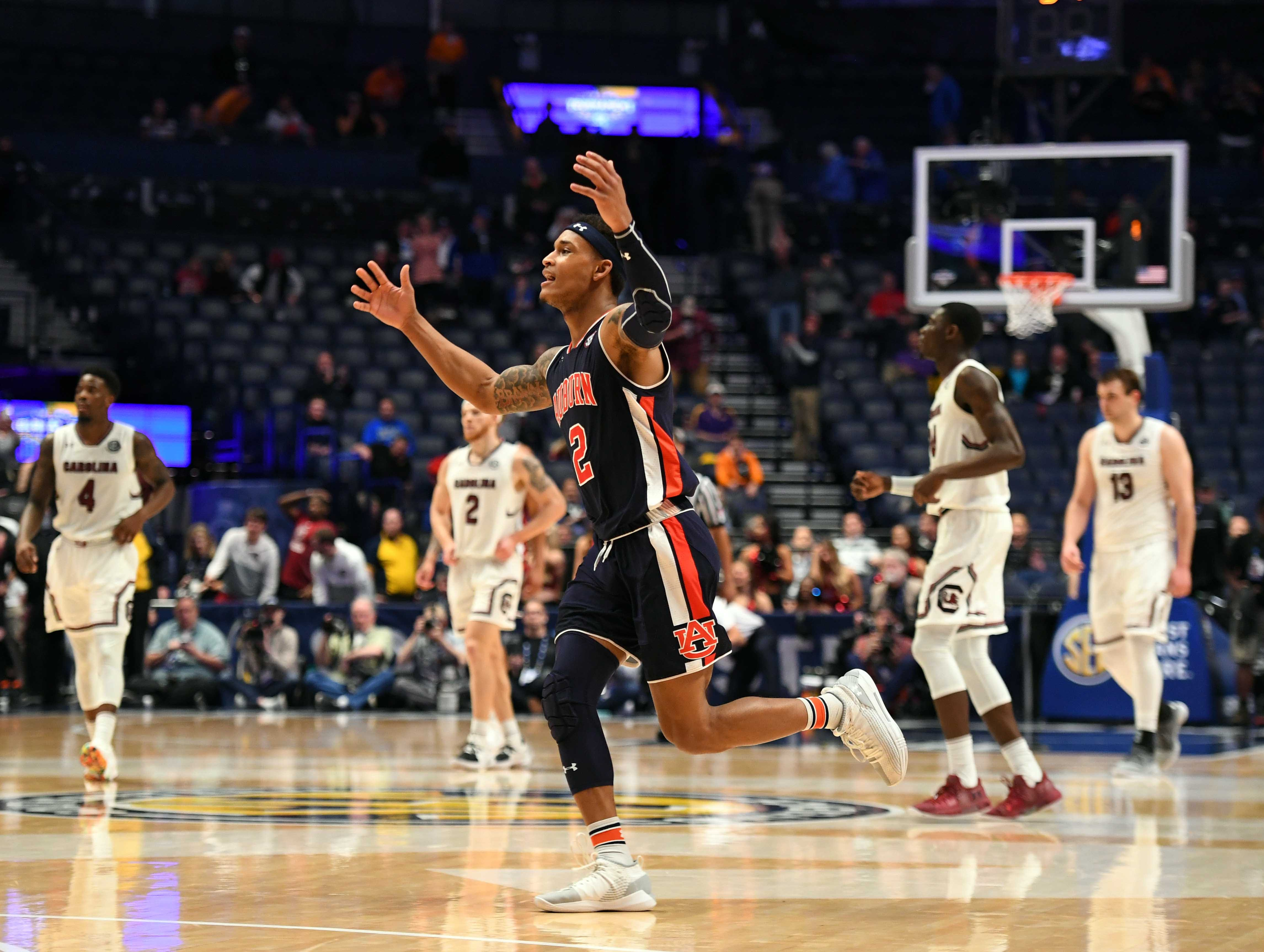 Mar 15, 2019; Nashville, TN, USA; Auburn Tigers guard Bryce Brown (2) celebrates after beating the South Carolina Gamecocks in the SEC conference tournament at Bridgestone Arena. Mandatory Credit: Christopher Hanewinckel-USA TODAY Sports