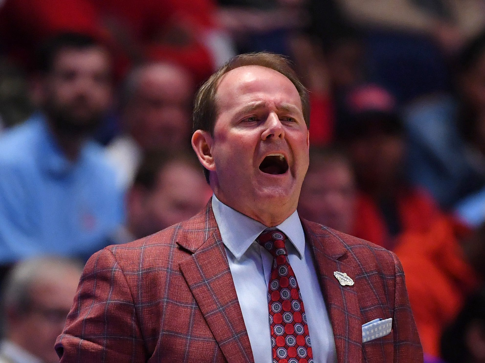 Mar 14, 2019; Nashville, TN, USA; Mississippi Rebels head coach Kermit Davis during the first half of the SEC conference tournament at Bridgestone Arena. Mandatory Credit: Christopher Hanewinckel-USA TODAY Sports