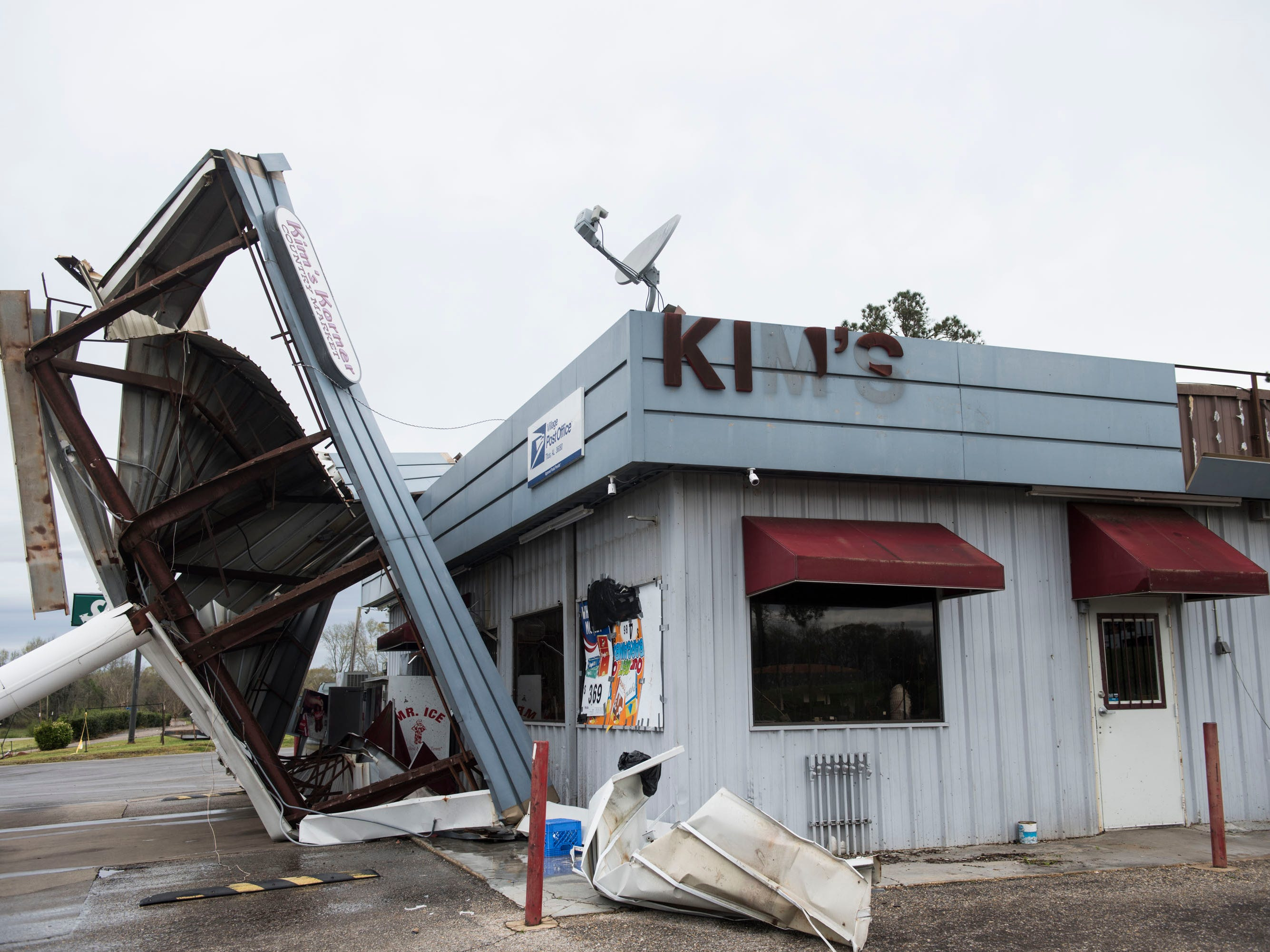 The damage at Kim's Korner gas station after a Tornado hit in Titus, Ala., on Friday, March 15, 2019.