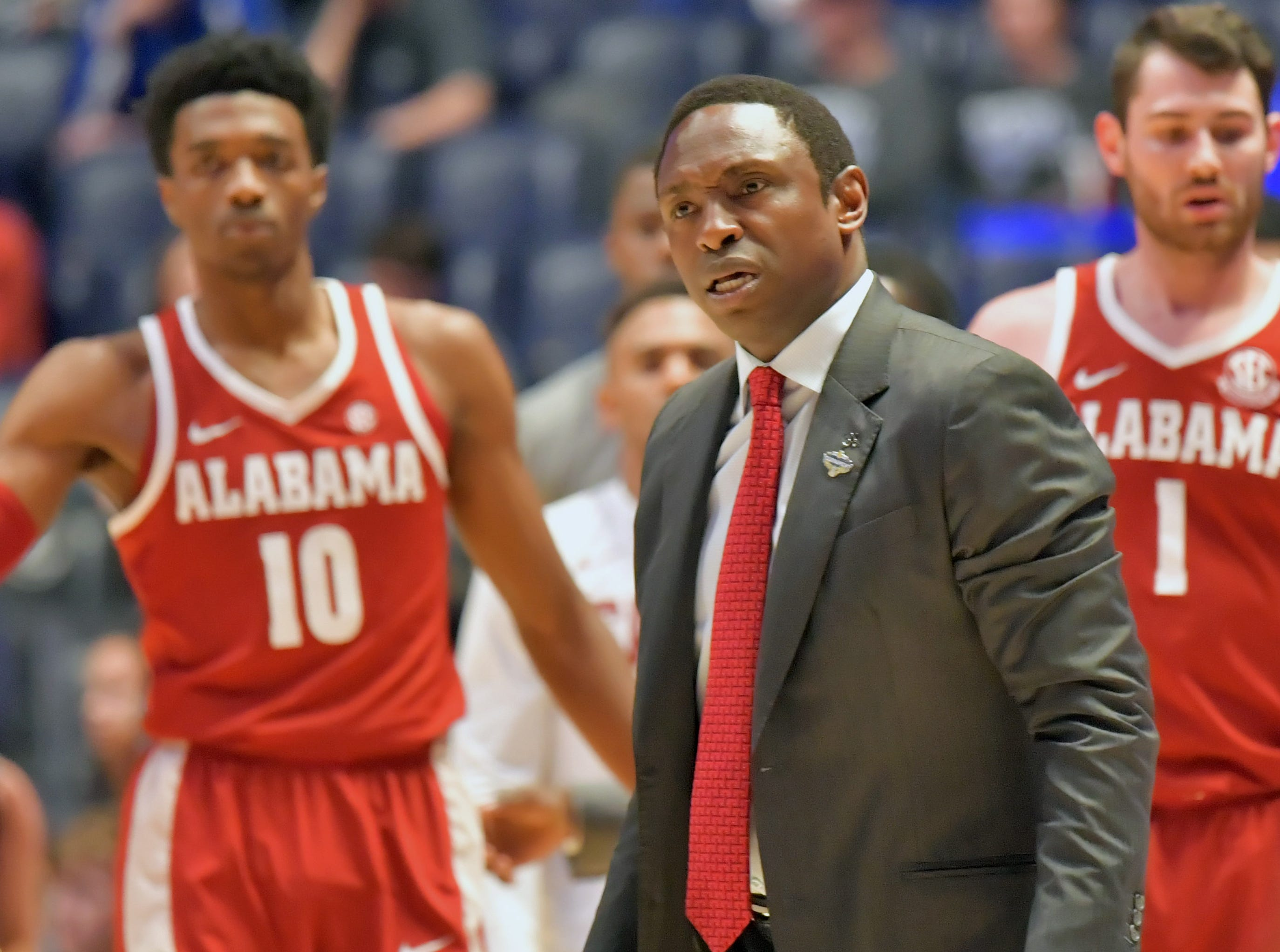 Mar 14, 2019; Nashville, TN, USA; Alabama Crimson Tide head coach Avery Johnson reacts in the first half against the Mississippi Rebels in the SEC conference tournament at Bridgestone Arena. Mandatory Credit: Jim Brown-USA TODAY Sports