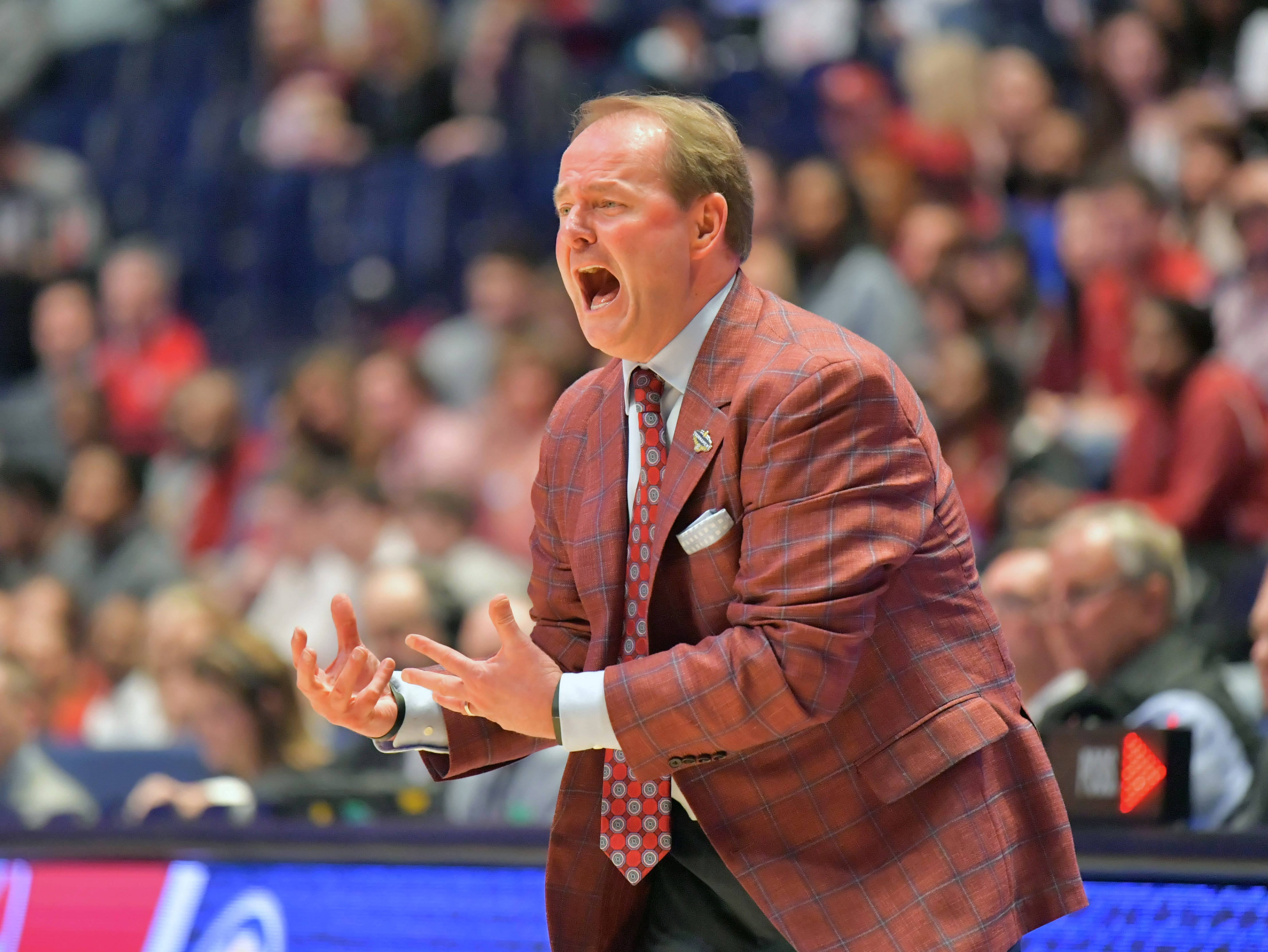 Mar 14, 2019; Nashville, TN, USA; Mississippi Rebels coach reacts in the first half against the Alabama Crimson Tide  in the SEC conference tournament at Bridgestone Arena. Mandatory Credit: Jim Brown-USA TODAY Sports
