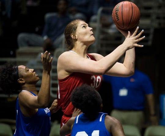 Alabama's River Baldwin (30) goes up for a layup during the Alabama-Mississippi All-Star game at the Dunn-Oliver Acadome in Montgomery, Ala., on Friday, March 15, 2019. Alabama All-stars lead the Mississippi All-stars 48-34 at halftime.