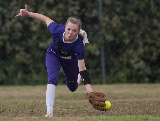 Tallassee's Chloe Baynes (18) drops a live ball in the outfield at Thompson Park in Montgomery, Ala., on Thursday, March 14, 2019. Tallassee defeated Brew Tech 7-0.