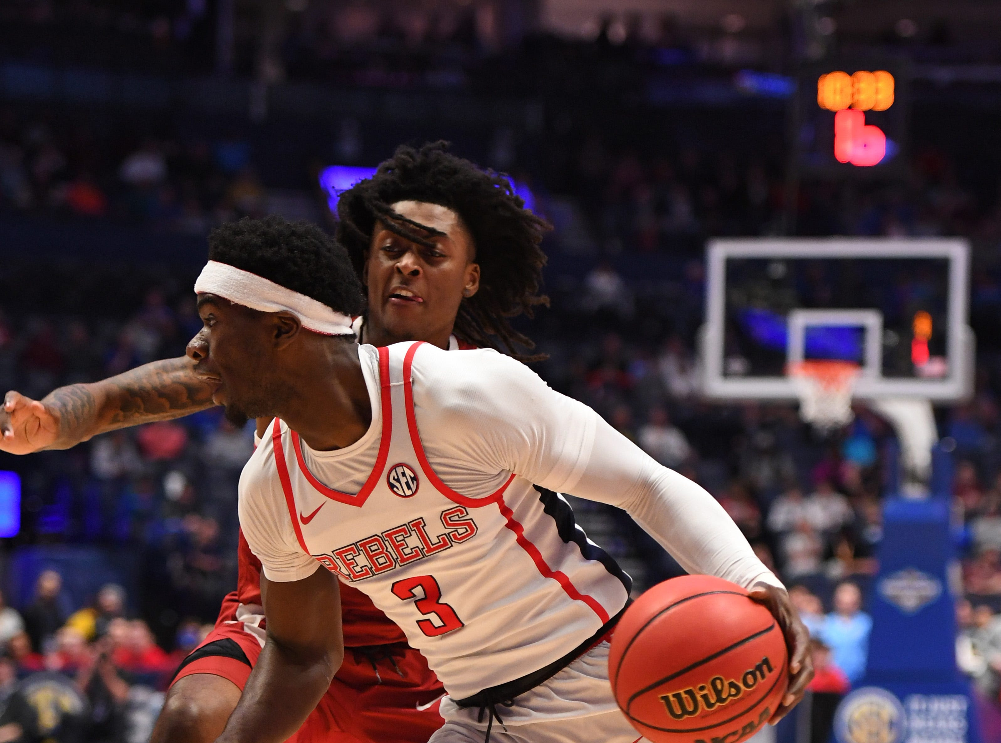 Mar 14, 2019; Nashville, TN, USA; Mississippi Rebels guard Terence Davis (3) drives to the basket against the Alabama Crimson Tide during the first half of the SEC conference tournament at Bridgestone Arena. Mandatory Credit: Christopher Hanewinckel-USA TODAY Sports