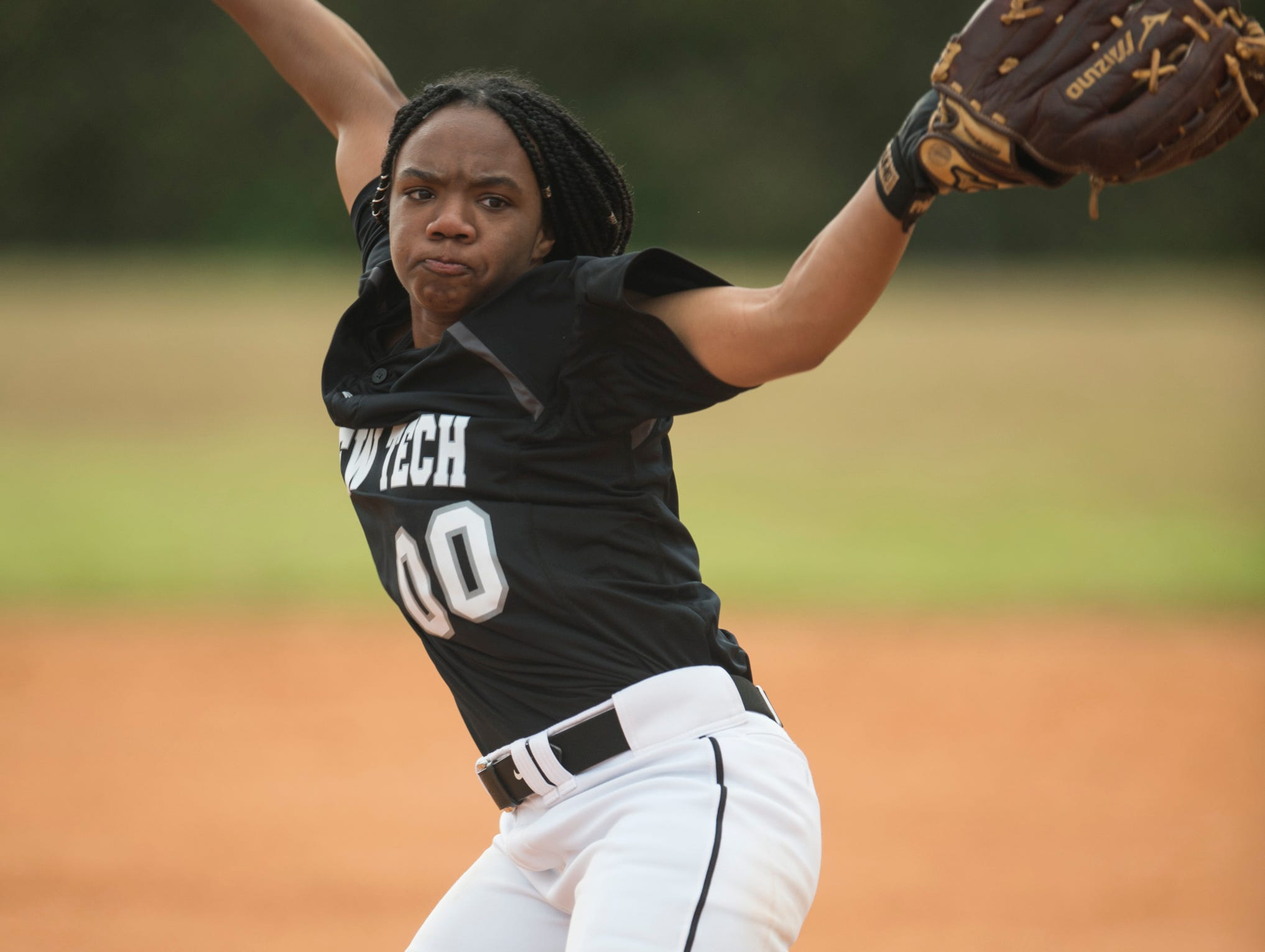 Brew Tech's Tyra Johnson (00) pitches at Thompson Park in Montgomery, Ala., on Thursday, March 14, 2019. Tallassee defeated Brew Tech 7-0.