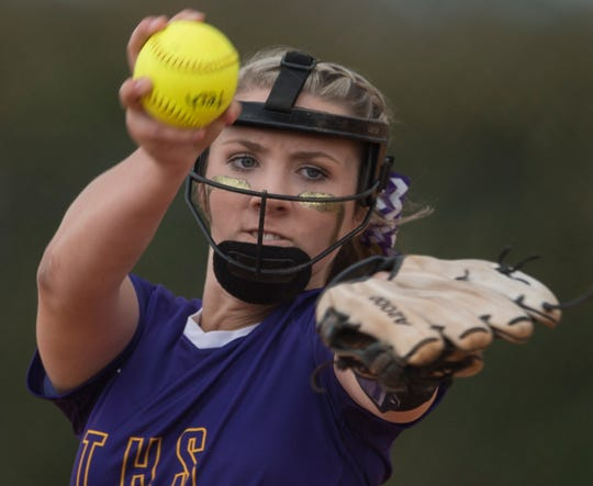 Tallassee's Jordan Walters (7) pitches the ball at Thompson Park in Montgomery, Ala., on Thursday, March 14, 2019. Tallassee defeated Brew Tech 7-0.