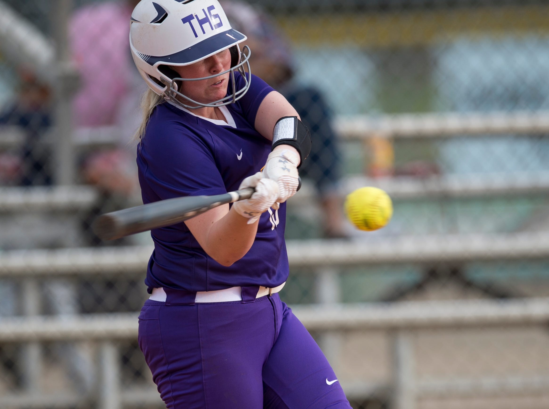Tallassee's Madelyn Martin (15) swings at the ball at Thompson Park in Montgomery, Ala., on Thursday, March 14, 2019. Tallassee defeated Brew Tech 7-0.
