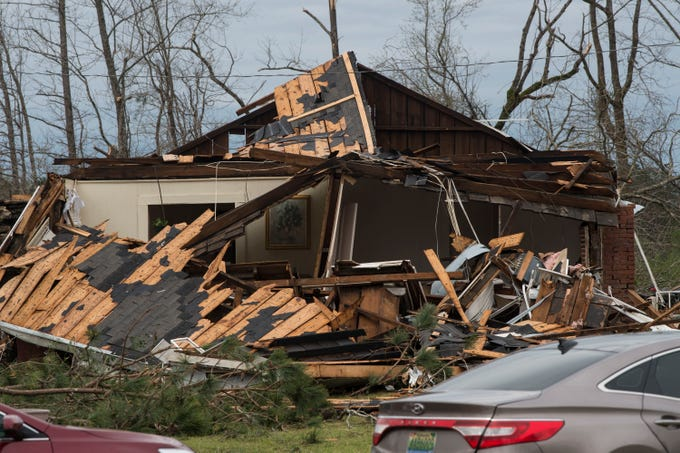 Arcuqila Pearson's home after a possible Tornado struck in Titus, Ala., on Friday, March 15, 2019.