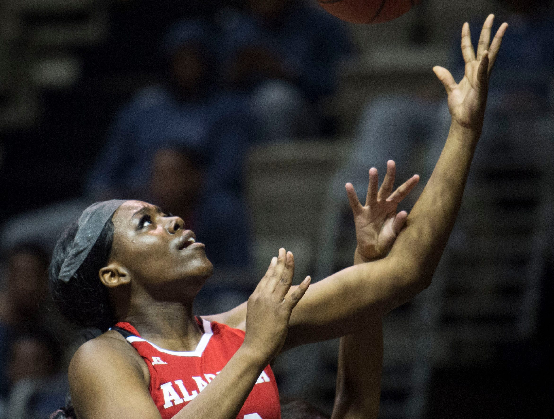 Alabama's Thaniya Marks (40) goes up for a layup during the Alabama-Mississippi All-Star game at the Dunn-Oliver Acadome in Montgomery, Ala., on Friday, March 15, 2019. Alabama All-stars lead the Mississippi All-stars 48-34 at halftime.