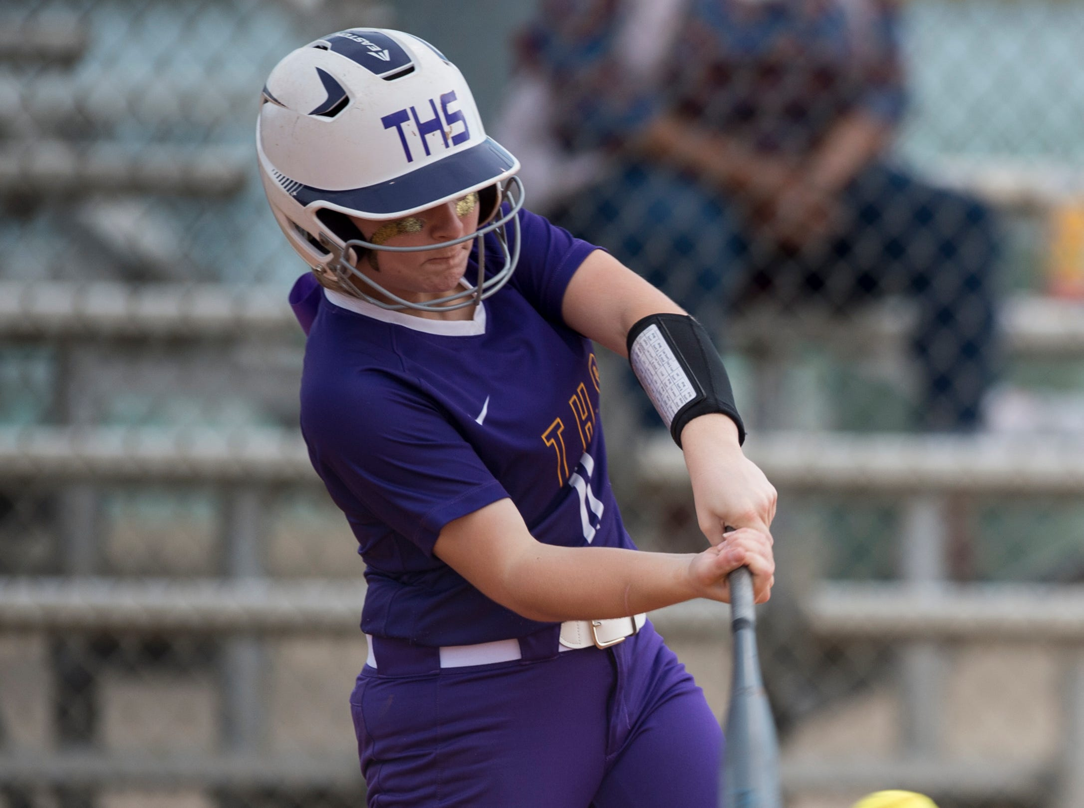Tallassee's Ella Thrash (11) swings at the ball at Thompson Park in Montgomery, Ala., on Thursday, March 14, 2019. Tallassee defeated Brew Tech 7-0.