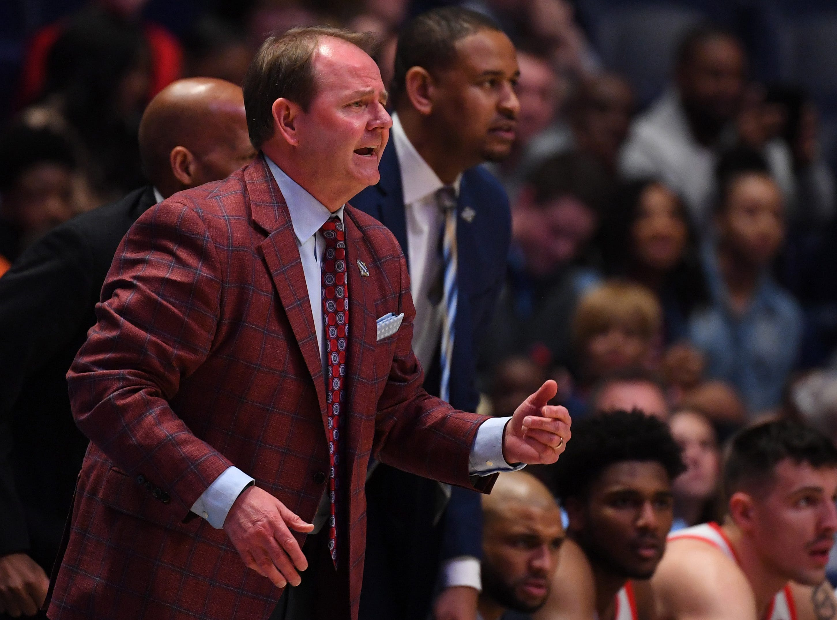 Mar 14, 2019; Nashville, TN, USA; Mississippi Rebels head coach Kermit Davis, against the Alabama Crimson Tide during the first half of the SEC conference tournament at Bridgestone Arena. Mandatory Credit: Christopher Hanewinckel-USA TODAY Sports