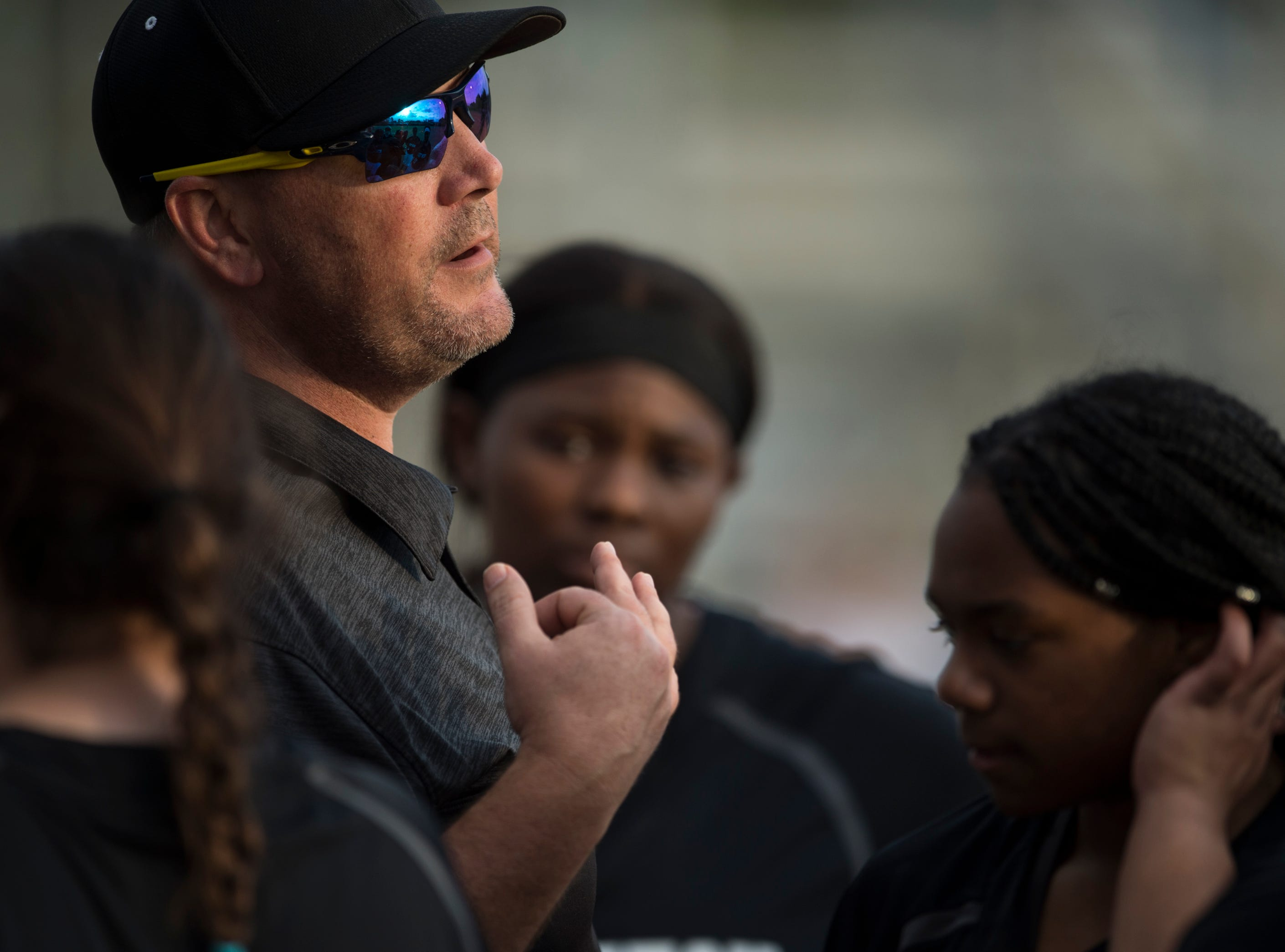 Brew Tech coach Brian Pittman talks wit his team at Thompson Park in Montgomery, Ala., on Thursday, March 14, 2019. Tallassee defeated Brew Tech 7-0.
