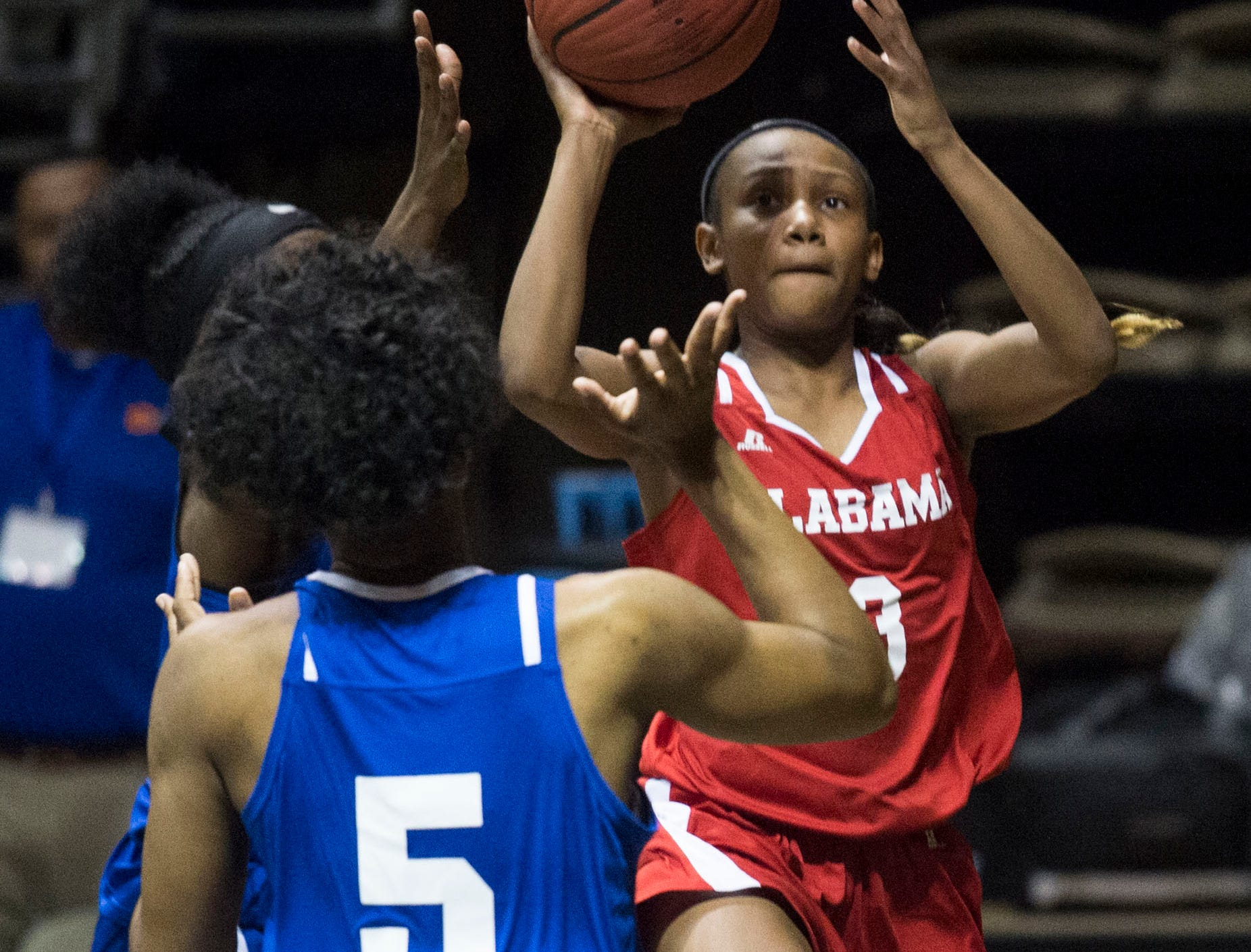 Alabama's Marisa Snodgrass (3) goes up for a layup during the Alabama-Mississippi All-Star game at the Dunn-Oliver Acadome in Montgomery, Ala., on Friday, March 15, 2019. Alabama All-stars lead the Mississippi All-stars 48-34 at halftime.
