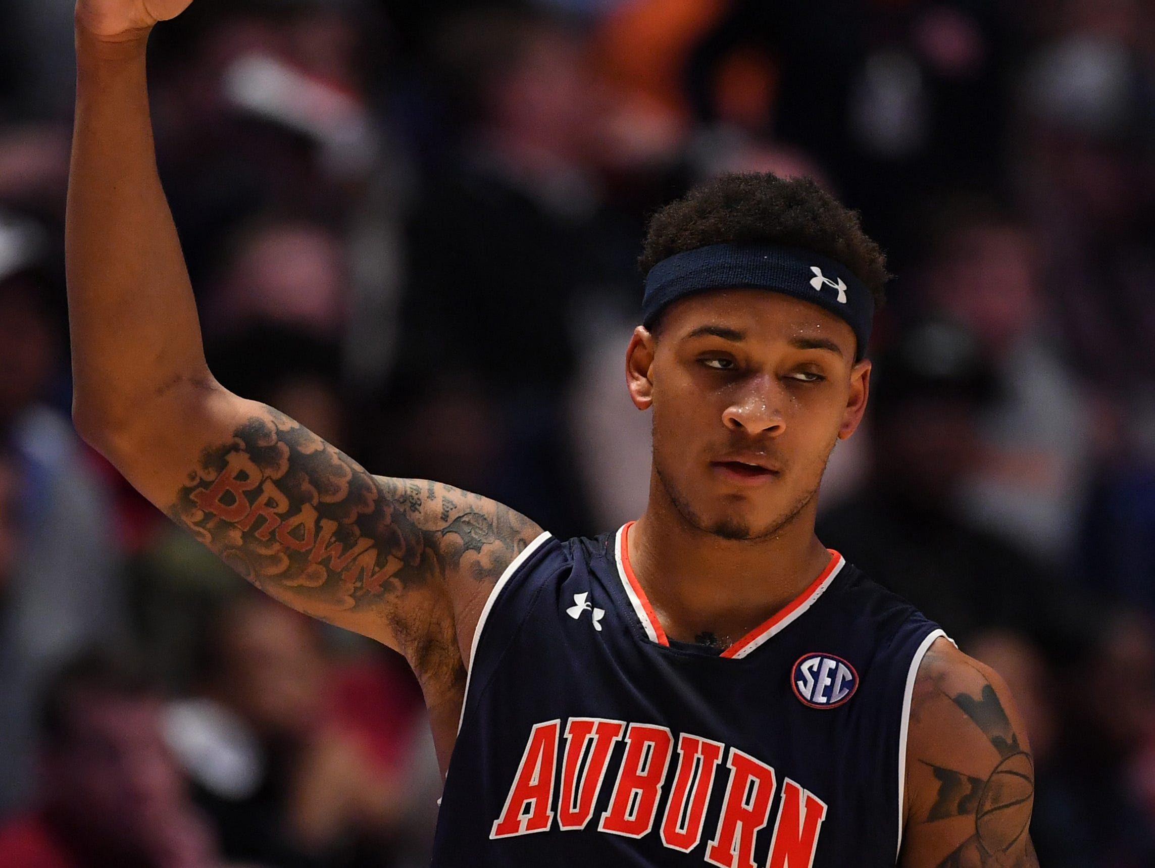 Mar 15, 2019; Nashville, TN, USA; Auburn Tigers guard Bryce Brown (2) reacts after a basket against the South Carolina Gamecocks during the first half of the SEC conference tournament at Bridgestone Arena. Mandatory Credit: Christopher Hanewinckel-USA TODAY Sports