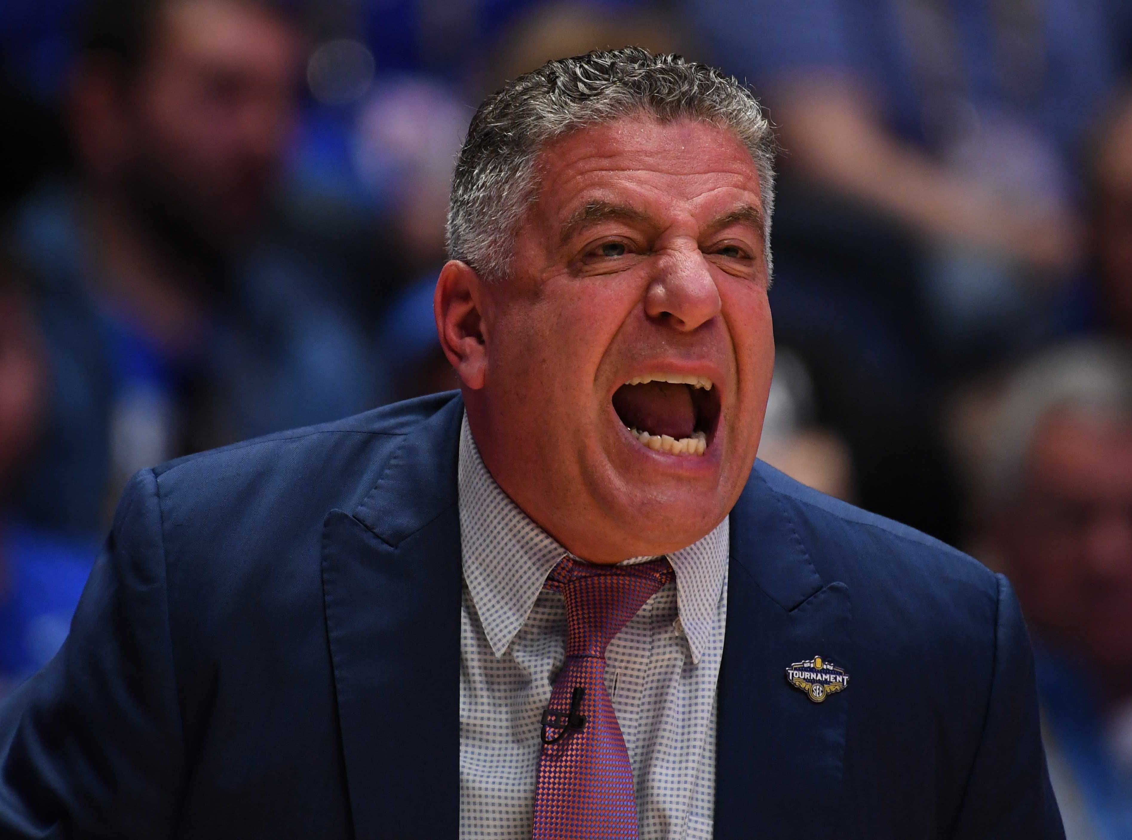 Mar 15, 2019; Nashville, TN, USA; Auburn Tigers head coach Bruce Pearl against the South Carolina Gamecocks during the first half of the SEC conference tournament at Bridgestone Arena. Mandatory Credit: Christopher Hanewinckel-USA TODAY Sports