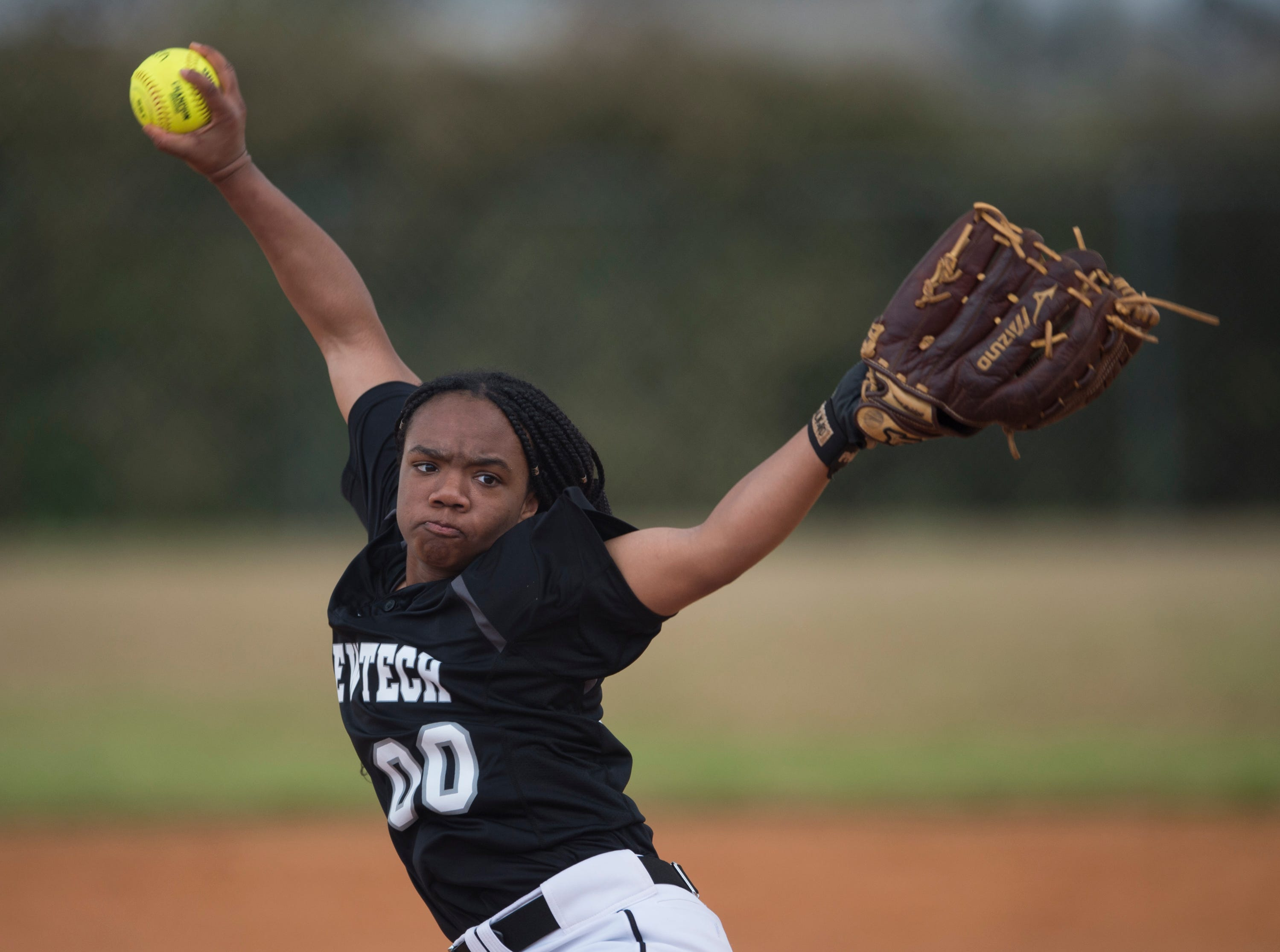 Brew Tech's Tyra Johnson (00) pitches the ball against Tallassee at Thompson Park in Montgomery, Ala., on Thursday, March 14, 2019. Tallassee defeated Brew Tech 7-0.