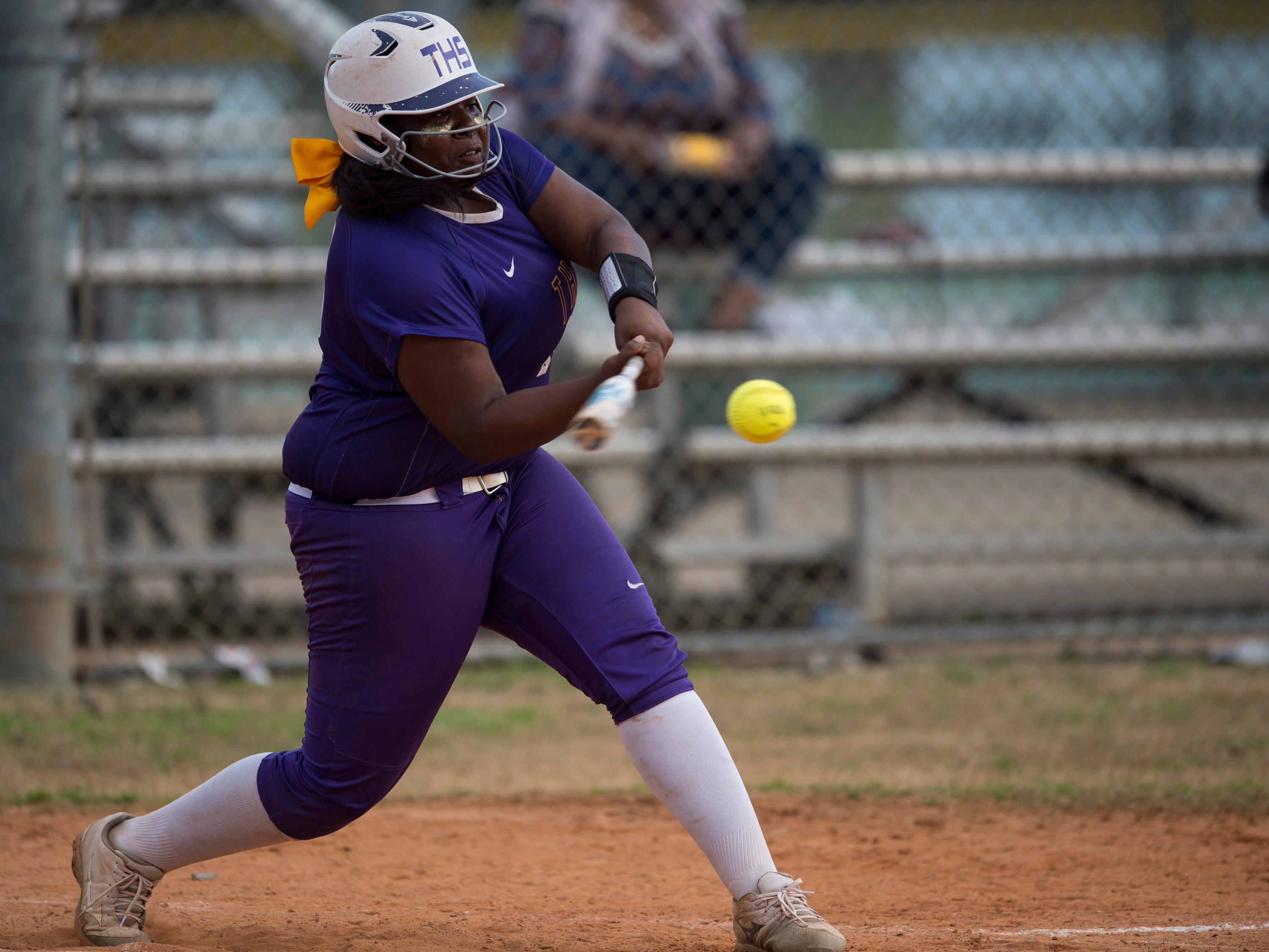 Tallassee's Ayanna Cole (33) swings at the ball at Thompson Park in Montgomery, Ala., on Thursday, March 14, 2019. Tallassee defeated Brew Tech 7-0.
