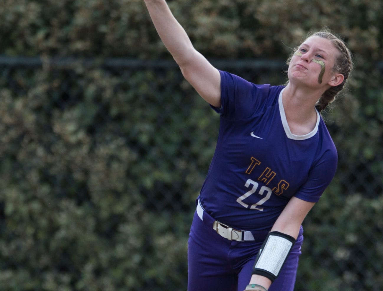 Tallassee's Anslee Osborne (22) throws in the ball from the outfield at Thompson Park in Montgomery, Ala., on Thursday, March 14, 2019. Tallassee defeated Brew Tech 7-0.