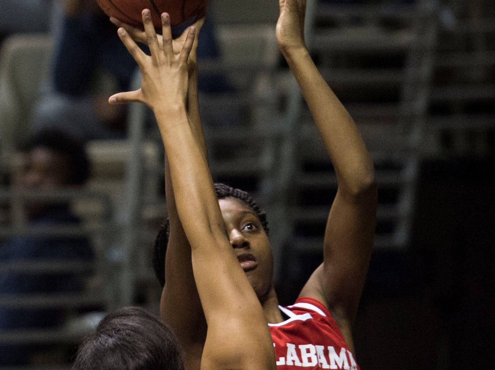 Alabama's Taylor Henderson (23) goes up for a layup during the Alabama-Mississippi All-Star game at the Dunn-Oliver Acadome in Montgomery, Ala., on Friday, March 15, 2019. Alabama All-stars lead the Mississippi All-stars 48-34 at halftime.