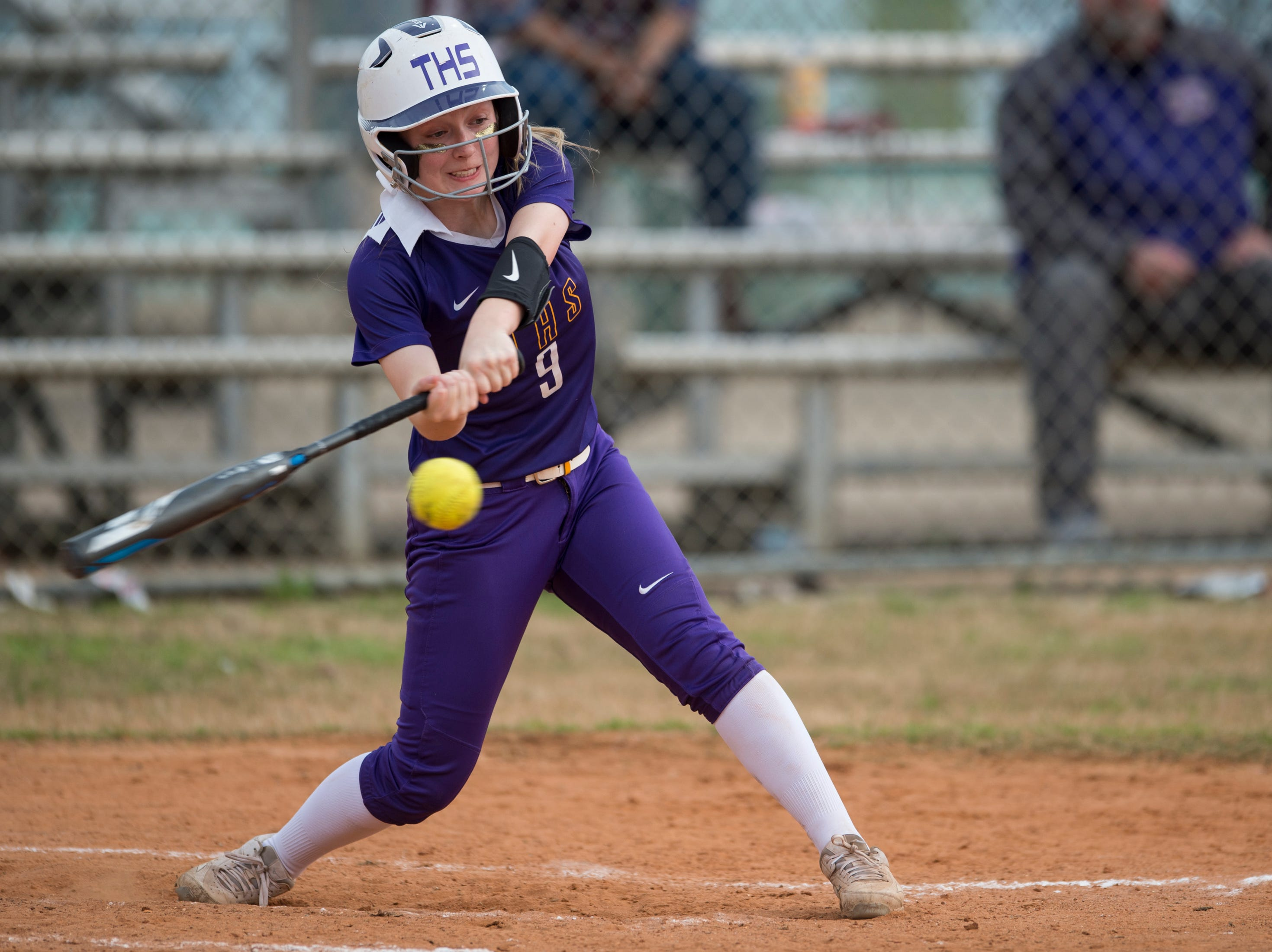 Tallassee's Alivia Haynes (9) swings at the ball at Thompson Park in Montgomery, Ala., on Thursday, March 14, 2019. Tallassee defeated Brew Tech 7-0.