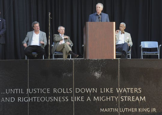 Southern Poverty Law Center founder Morris Dees speaks at the SPLC's 40th Anniversary Celebration on Saturday April 30, 2011 at the Civil Rights Memorial Center in Montgomery, Ala.