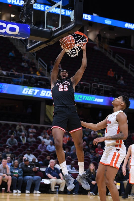 Ball State's Tahjai Teague dunks against Bowling Green on Thursday in the Mid-American Conference Tournament quarterfinals in Cleveland, Ohio.